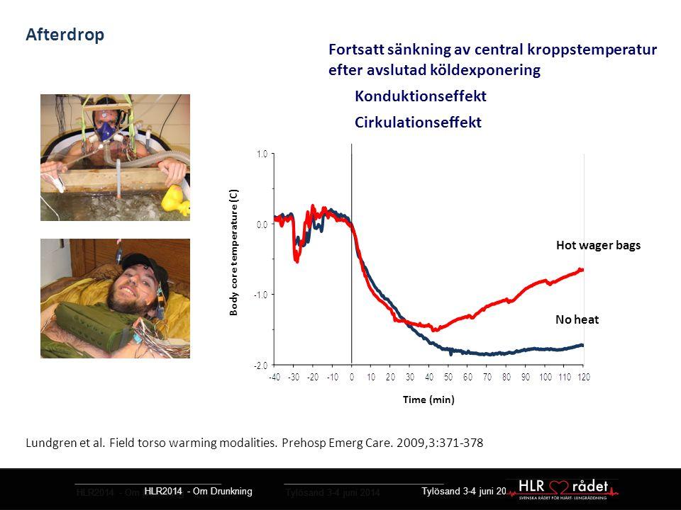 HLR2014 - Om Drunkning Tylösand 3-4 juni 2014 Resuscitering vid hypotermi – guidelines Kontrollera andning och puls i upp till 1 min Basal HLR som vid normotermi Samma takt inblåsningar/ ventilering Samma takt bröstkompressioner Defibrillering Upp till tre gånger vid kroppstemp < 30 °C Läkemedel Avstå vid kroppstemp < 30 °C Dubbla doseringsintervall mellan 30 – 35 °C ERC Guidelines for Resuscitation 2010