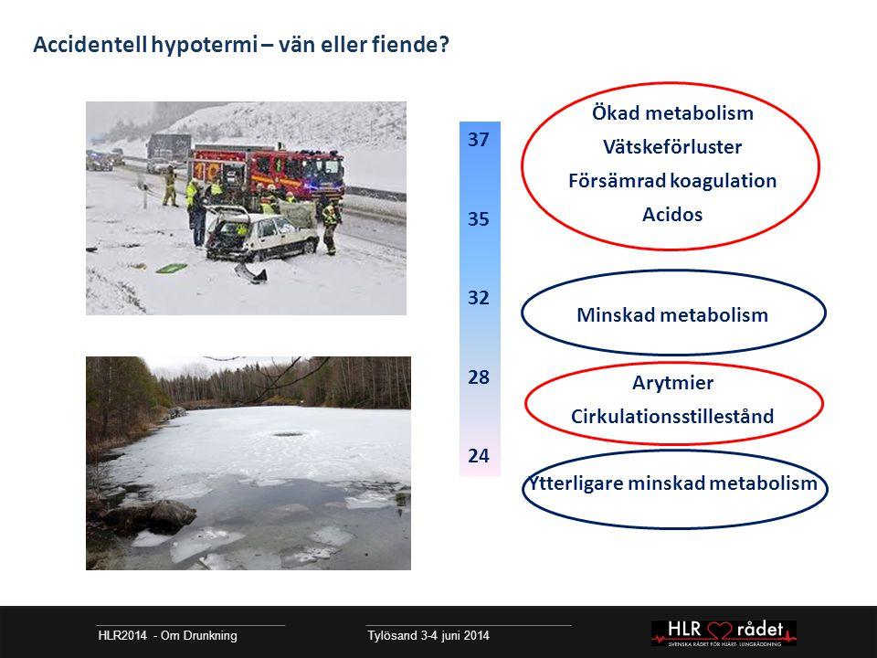 HLR2014 - Om Drunkning Tylösand 3-4 juni 2014 Resuscitering vid hypotermi Förutsättning för lyckad resuscitering: återuppvärmning Aktiv extern värmetillförsel inte tillräcklig Tidig kontakt enhet med tillgång till hjärtlungmaskin/ ECMO ERC Guidelines for Resuscitation 2010