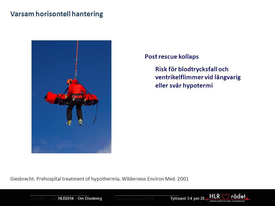HLR2014 - Om Drunkning Tylösand 3-4 juni 2014 Post rescue kollaps Risk för blodtrycksfall och ventrikelflimmer vid långvarig eller svår hypotermi HLR2