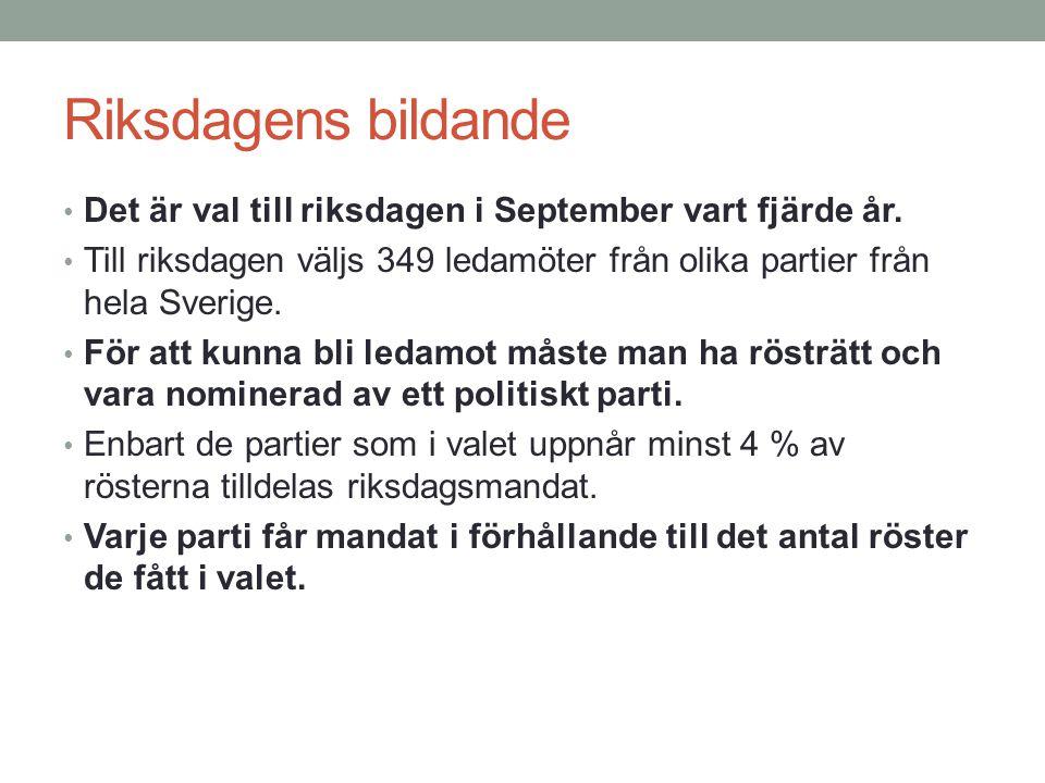 Riksdagens bildande Det är val till riksdagen i September vart fjärde år. Till riksdagen väljs 349 ledamöter från olika partier från hela Sverige. För