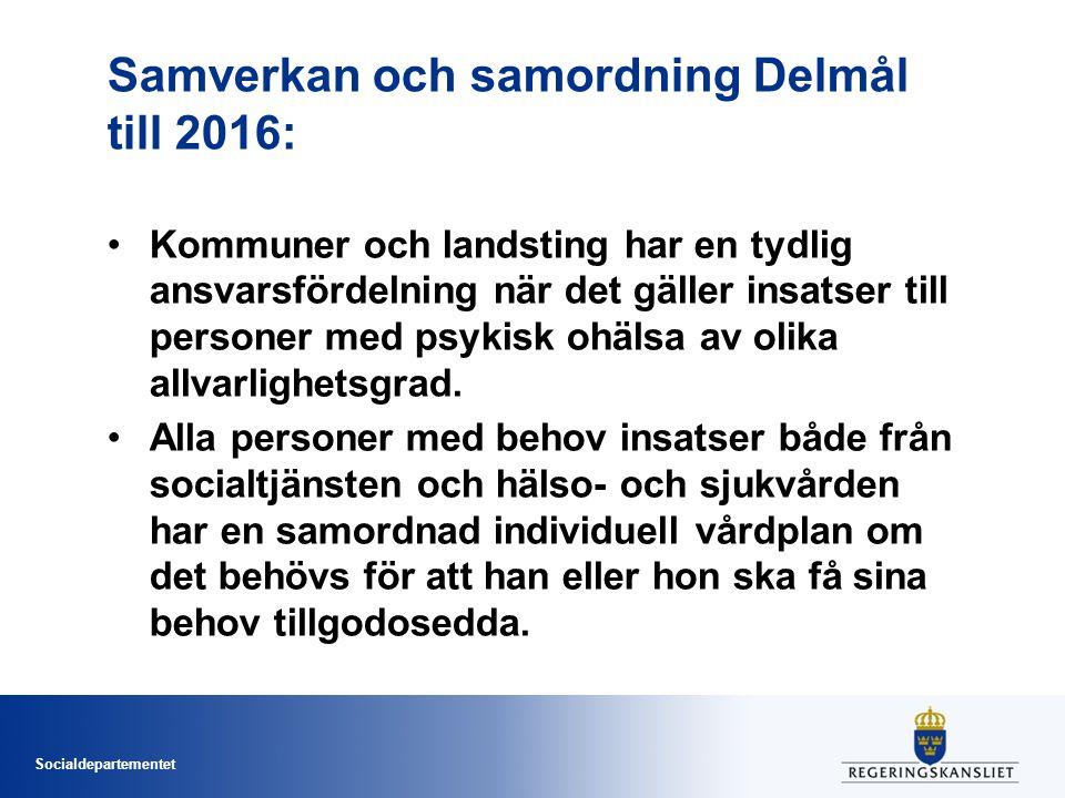 Socialdepartementet Samverkan och samordning Delmål till 2016: Kommuner och landsting har en tydlig ansvarsfördelning när det gäller insatser till per