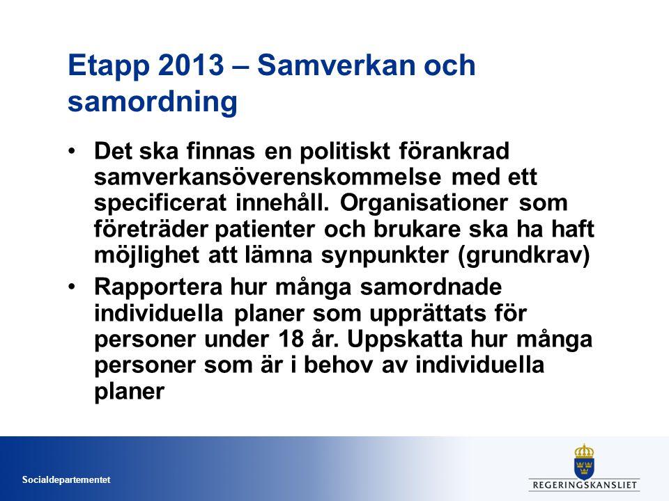 Socialdepartementet Etapp 2013 – Samverkan och samordning Det ska finnas en politiskt förankrad samverkansöverenskommelse med ett specificerat innehål