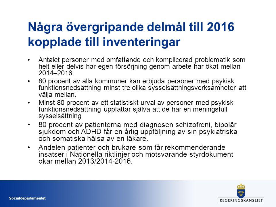 Socialdepartementet Några övergripande delmål till 2016 kopplade till inventeringar Antalet personer med omfattande och komplicerad problematik som he