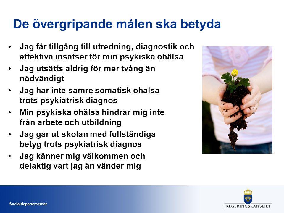 Socialdepartementet De övergripande målen ska betyda Jag får tillgång till utredning, diagnostik och effektiva insatser för min psykiska ohälsa Jag ut