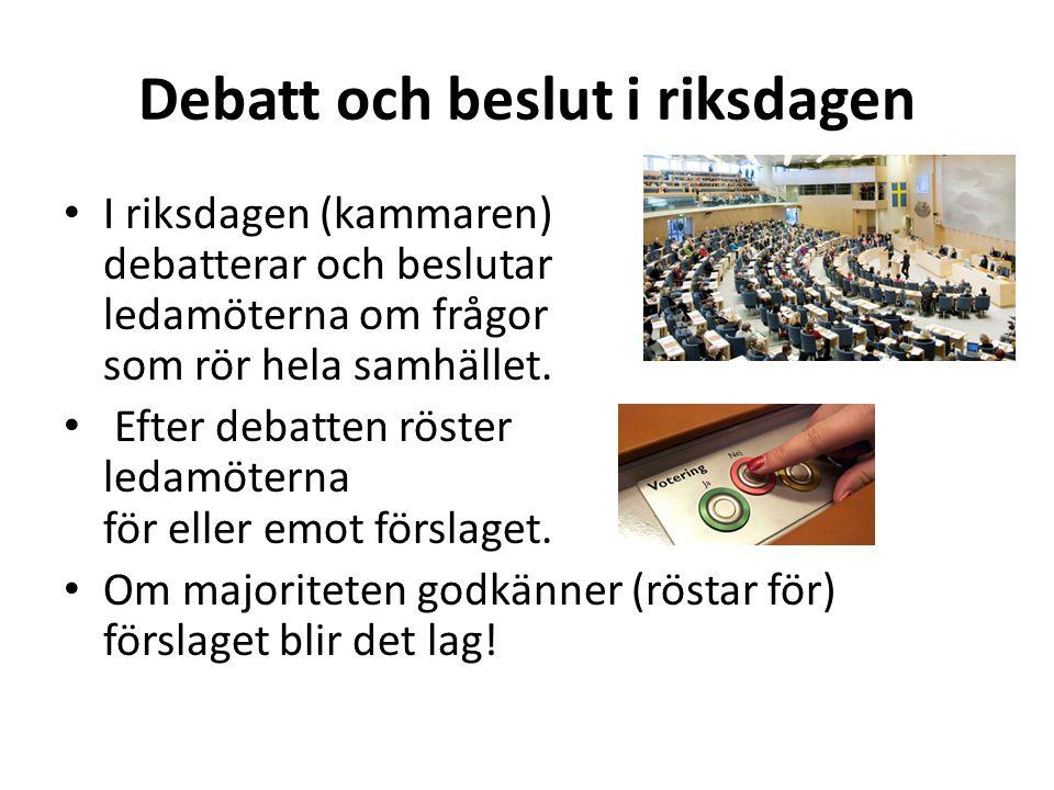 Debatt och beslut i riksdagen I riksdagen (kammaren) debatterar och beslutar ledamöterna om frågor som rör hela samhället. Efter debatten röster ledam
