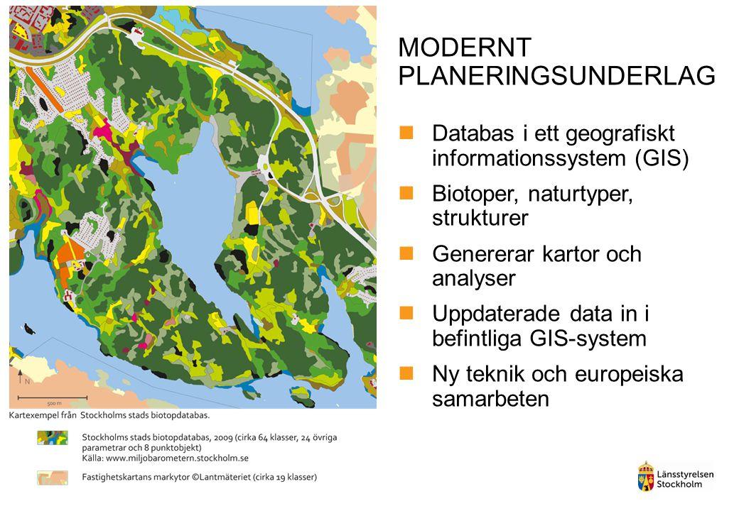 MODERNT PLANERINGSUNDERLAG Databas i ett geografiskt informationssystem (GIS) Biotoper, naturtyper, strukturer Genererar kartor och analyser Uppdaterade data in i befintliga GIS-system Ny teknik och europeiska samarbeten
