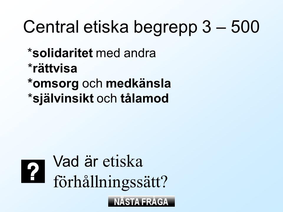 Central etiska begrepp 3 – 500 *solidaritet med andra *rättvisa *omsorg och medkänsla *självinsikt och tålamod Vad är etiska förhållningssätt?