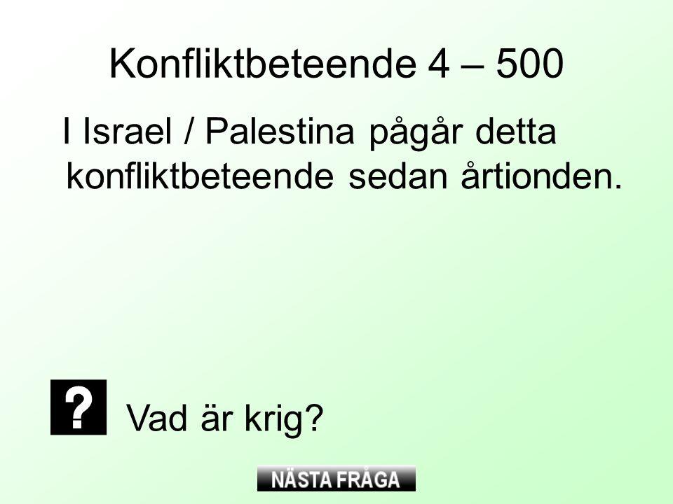 Konfliktbeteende 4 – 500 I Israel / Palestina pågår detta konfliktbeteende sedan årtionden. Vad är krig?