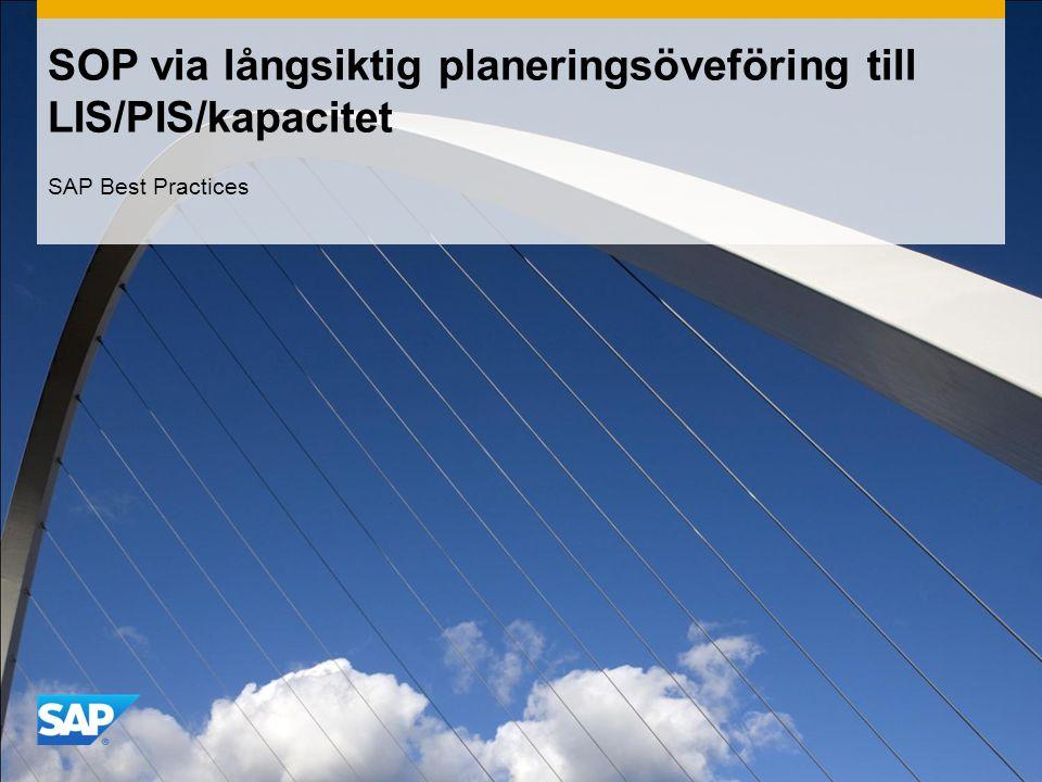 SOP via långsiktig planeringsöveföring till LIS/PIS/kapacitet SAP Best Practices