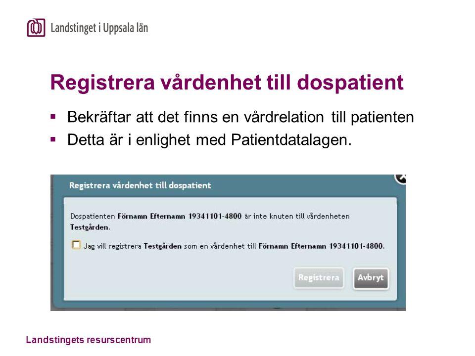 Landstingets resurscentrum Registrera vårdenhet till dospatient  Bekräftar att det finns en vårdrelation till patienten  Detta är i enlighet med Pat