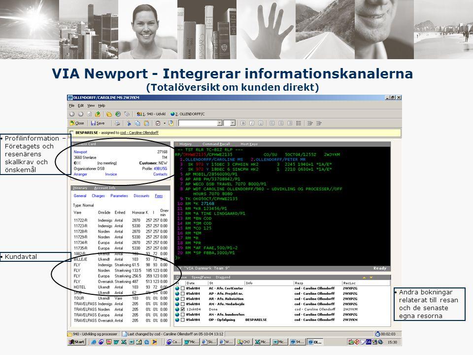 VIA Newport - Integrerar informationskanalerna (Totalöversikt om kunden direkt) Profilinformation – Företagets och resenärens skallkrav och önskemål Kundavtal Andra bokningar relaterat till resan och de senaste egna resorna