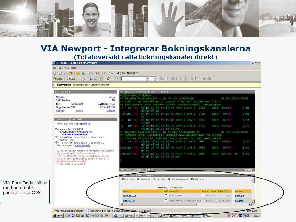 VIA Fare Finder söker med automatik paralellt med GDS VIA Newport - Integrerar Bokningskanalerna (Totalöversikt i alla bokningskanaler direkt)