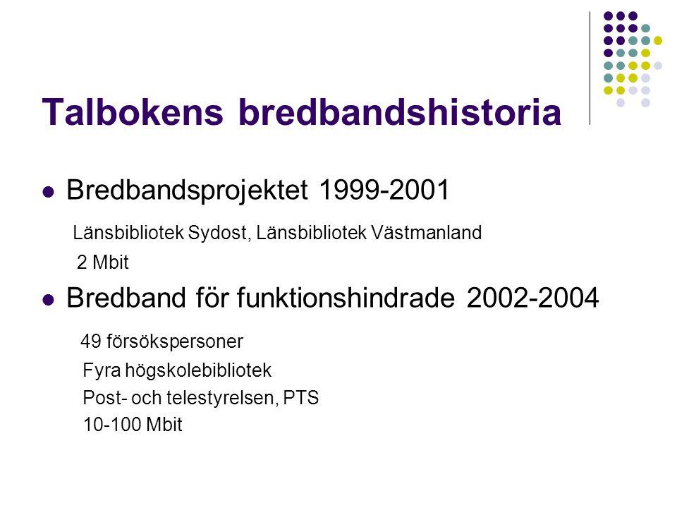 Talbokens bredbandshistoria Bredbandsprojektet 1999-2001 Länsbibliotek Sydost, Länsbibliotek Västmanland 2 Mbit Bredband för funktionshindrade 2002-2004 49 försökspersoner Fyra högskolebibliotek Post- och telestyrelsen, PTS 10-100 Mbit