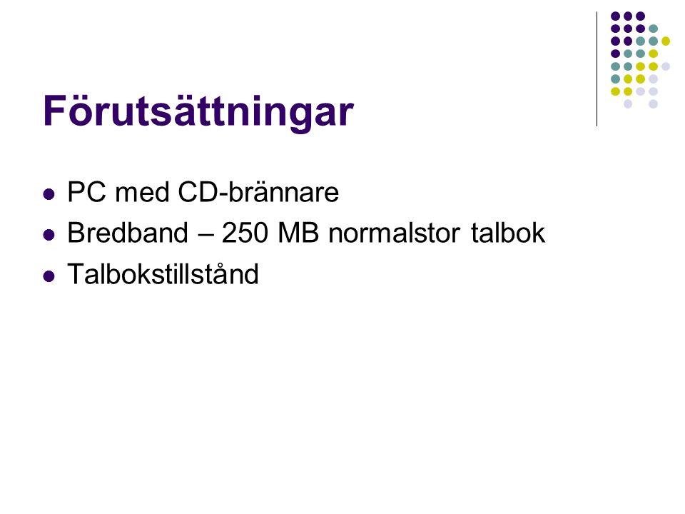 Förutsättningar PC med CD-brännare Bredband – 250 MB normalstor talbok Talbokstillstånd