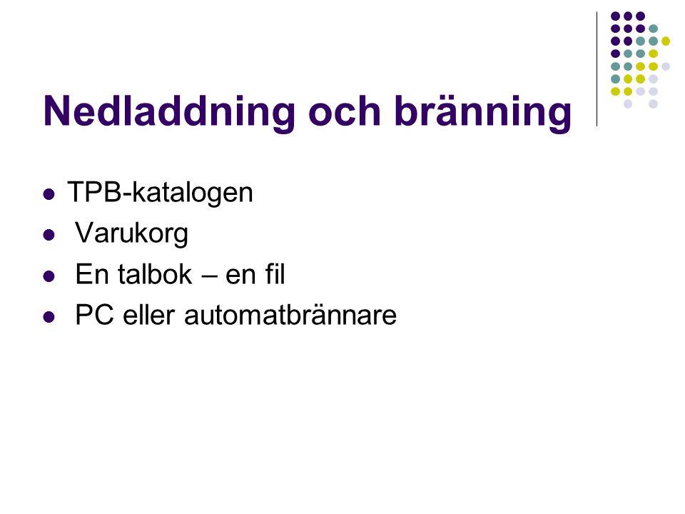 Nedladdning och bränning TPB-katalogen Varukorg En talbok – en fil PC eller automatbrännare