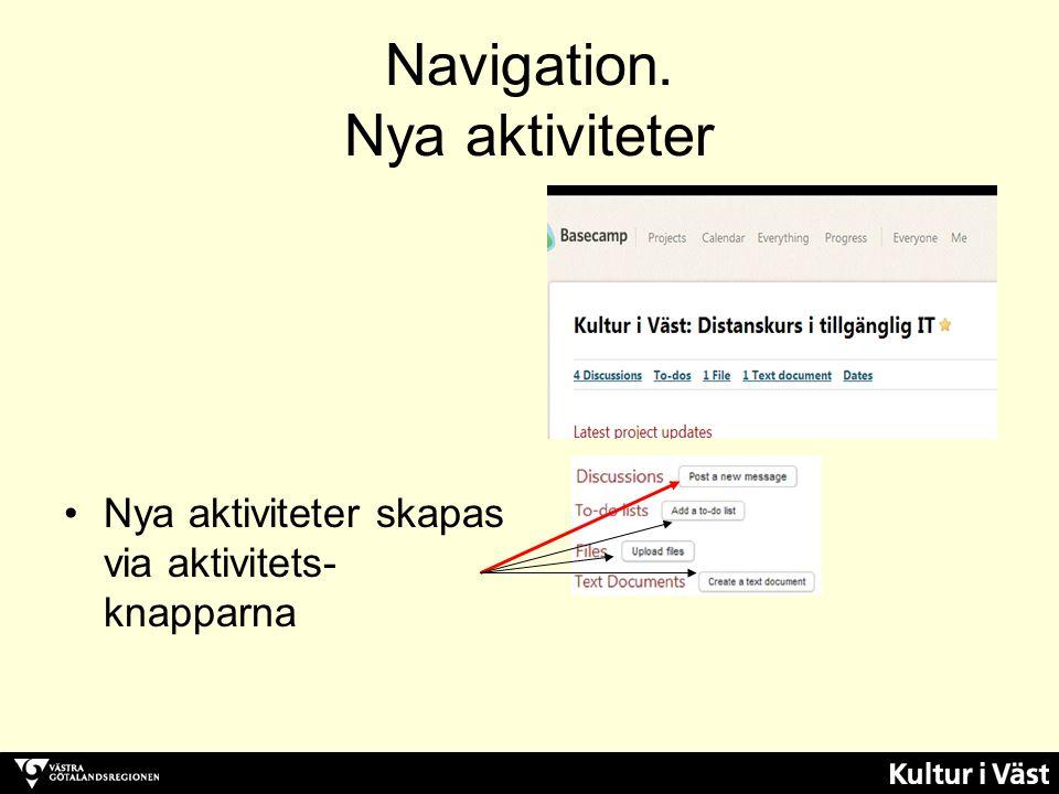 Navigation. Nya aktiviteter Nya aktiviteter skapas via aktivitets- knapparna