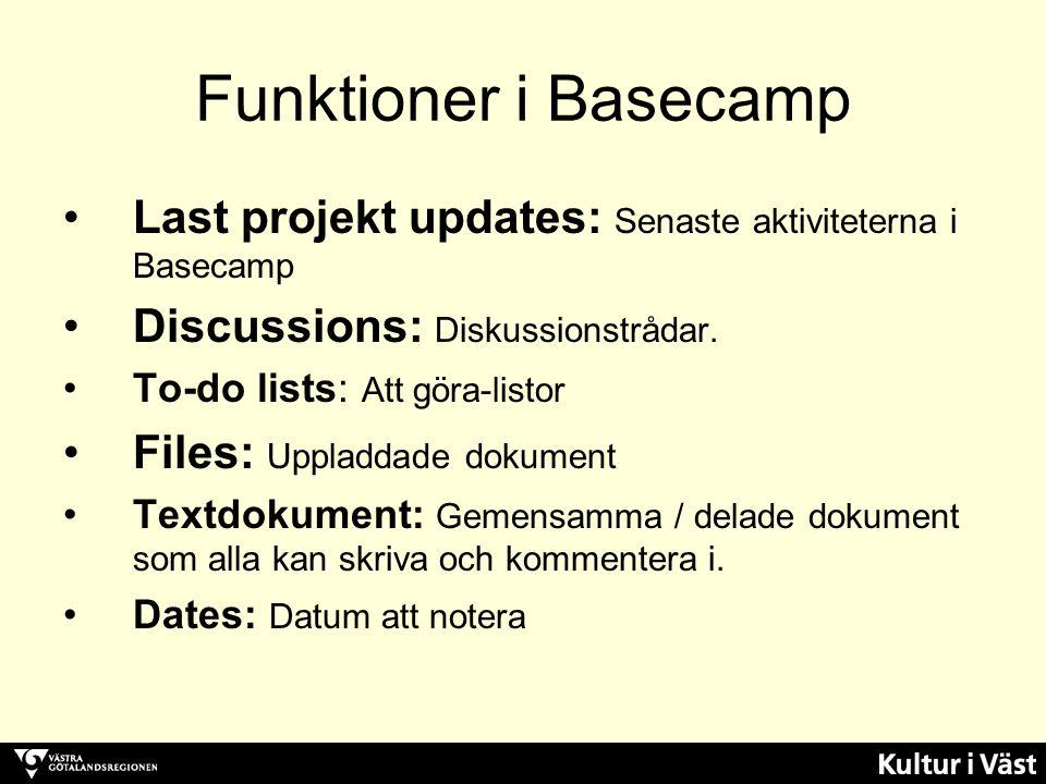 Funktioner i Basecamp Last projekt updates: Senaste aktiviteterna i Basecamp Discussions: Diskussionstrådar. To-do lists: Att göra-listor Files: Uppla