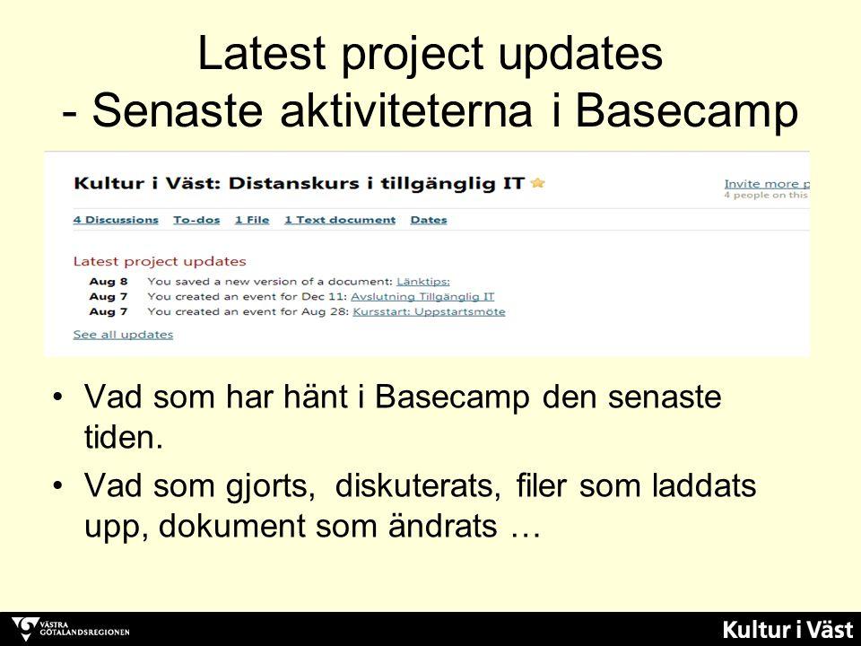 Latest project updates - Senaste aktiviteterna i Basecamp Vad som har hänt i Basecamp den senaste tiden. Vad som gjorts, diskuterats, filer som laddat