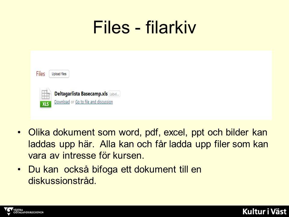 Files - filarkiv Olika dokument som word, pdf, excel, ppt och bilder kan laddas upp här.