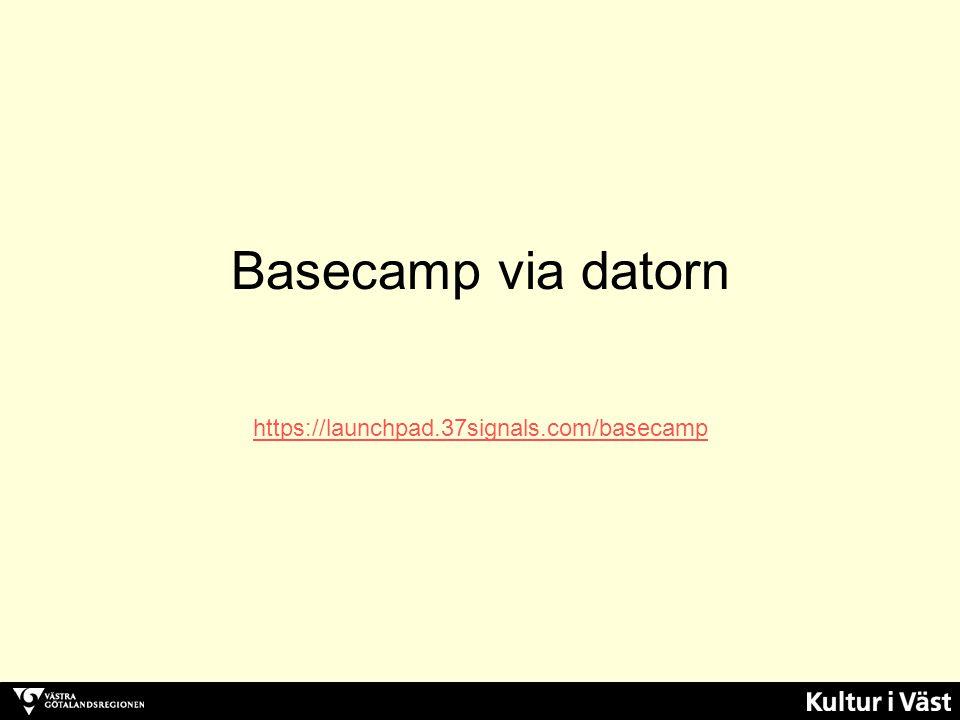 https://launchpad.37signals.com/basecamp Logga in med e-post och lösenord