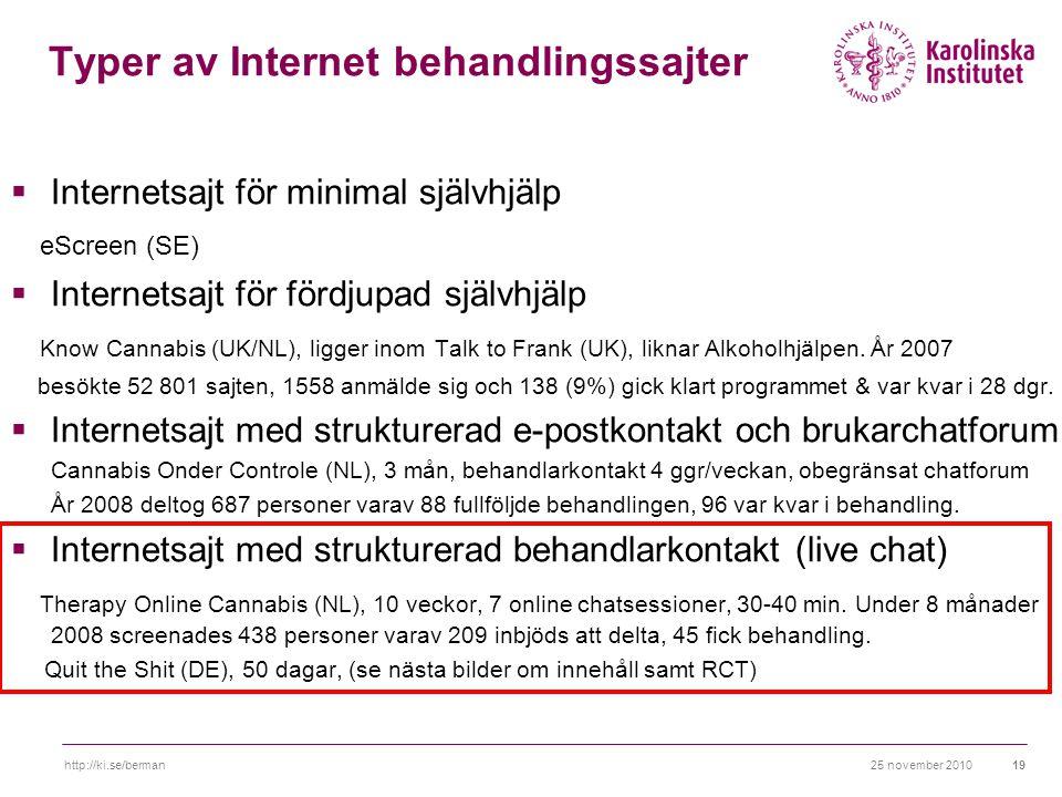 25 november 2010http://ki.se/berman19 Typer av Internet behandlingssajter  Internetsajt för minimal självhjälp eScreen (SE)  Internetsajt för fördjupad självhjälp Know Cannabis (UK/NL), ligger inom Talk to Frank (UK), liknar Alkoholhjälpen.