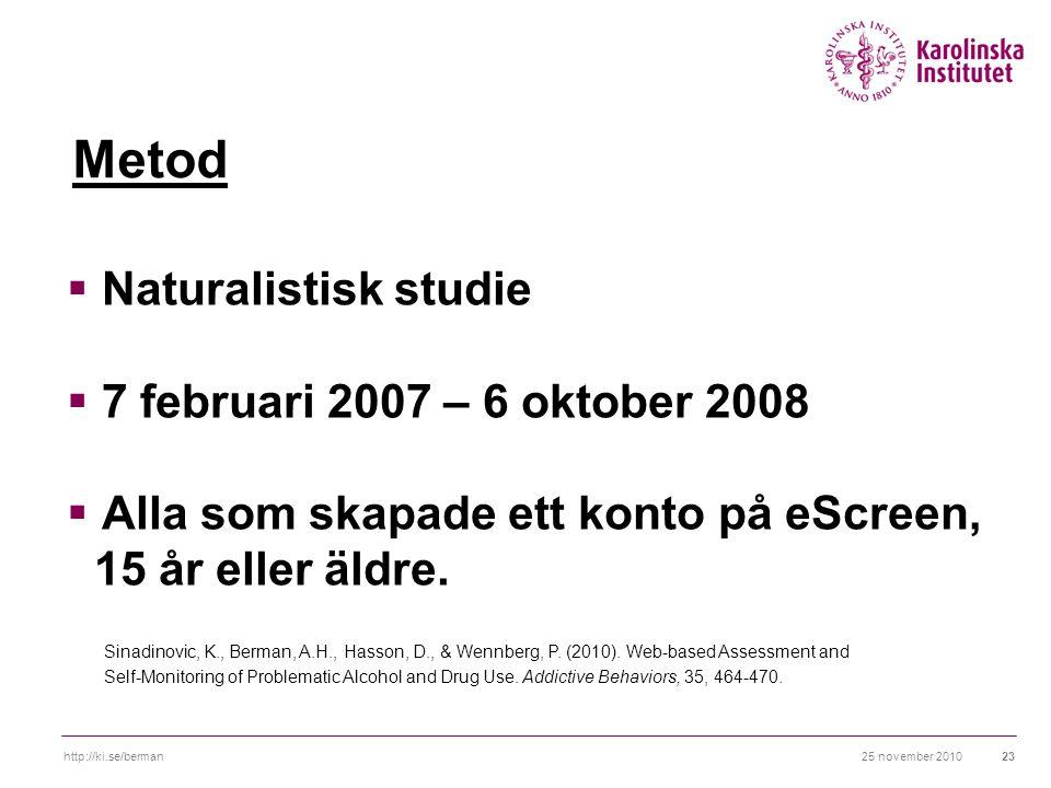 25 november 2010http://ki.se/berman23 Metod  Naturalistisk studie  7 februari 2007 – 6 oktober 2008  Alla som skapade ett konto på eScreen, 15 år eller äldre.
