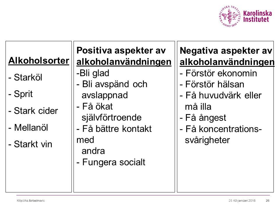25 november 2010http://ki.se/berman2612 januari 2015Kristina Sinadinovic26 Alkoholsorter - Starköl - Sprit - Stark cider - Mellanöl - Starkt vin Positiva aspekter av alkoholanvändningen -Bli glad - Bli avspänd och avslappnad - Få ökat självförtroende - Få bättre kontakt med andra - Fungera socialt Negativa aspekter av alkoholanvändningen - Förstör ekonomin - Förstör hälsan - Få huvudvärk eller må illa - Få ångest - Få koncentrations- svårigheter