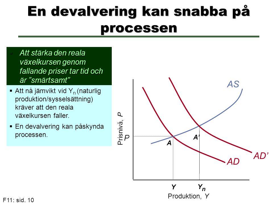 """F11: sid. 10 P AD A En devalvering kan snabba på processen  Att stärka den reala växelkursen genom fallande priser tar tid och är """"smärtsamt""""  Att n"""