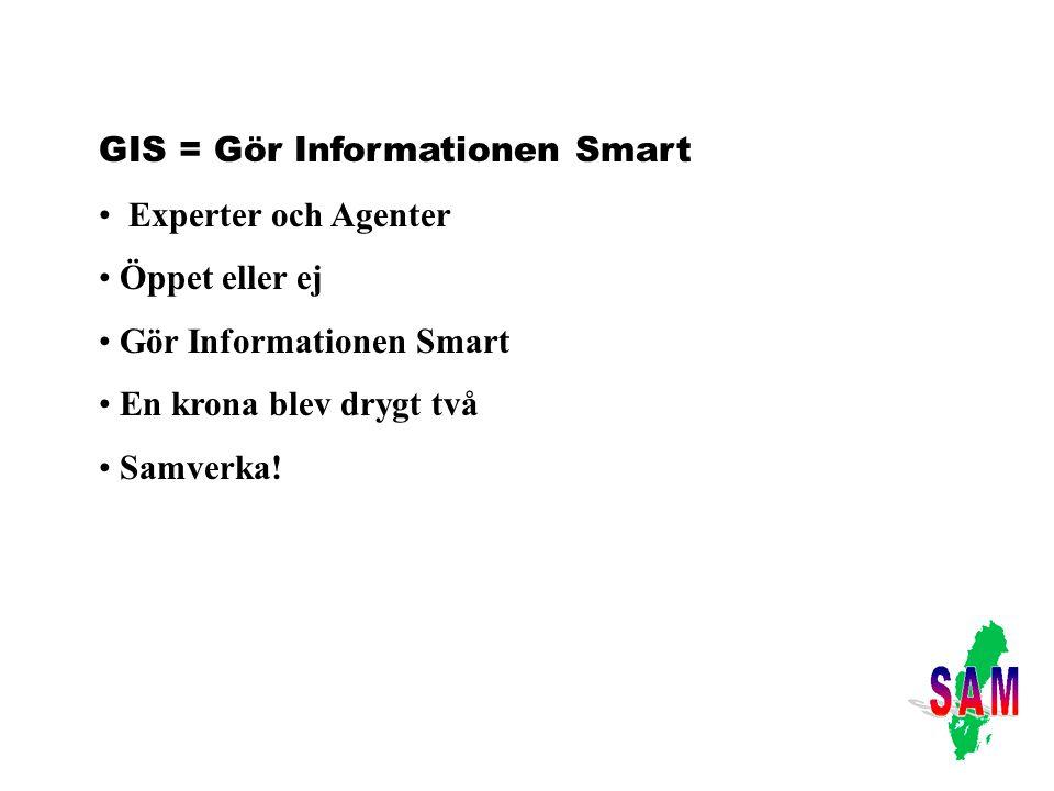 GIS = Gör Informationen Smart Experter och Agenter Öppet eller ej Gör Informationen Smart En krona blev drygt två Samverka!