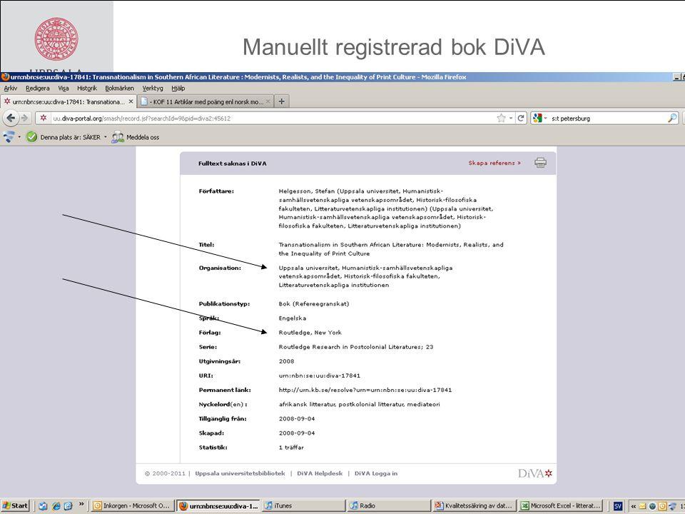 Manuellt registrerad bok DiVA
