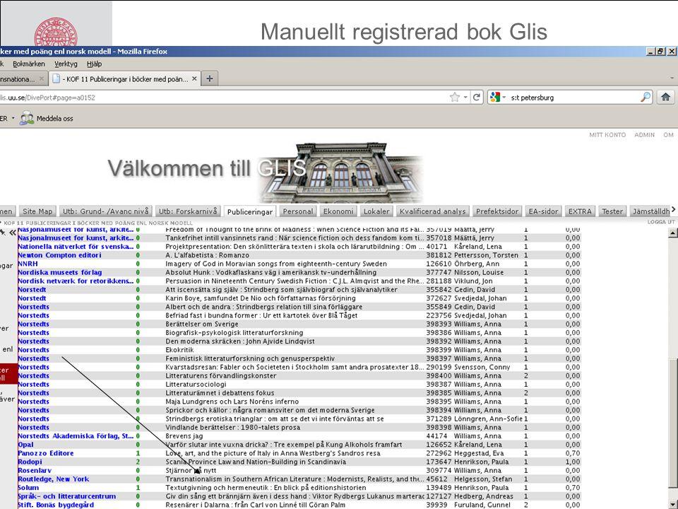 Manuellt registrerad bok Glis