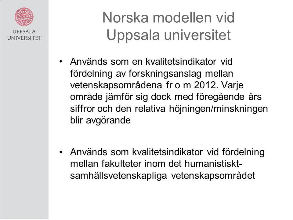 Norska modellen vid Uppsala universitet Används som kvalitetsindikator vid fördelning av forskningsanslag mellan institutionerna inom samhällsvetenskaplig fakultet Har använts som metod vid utvärdering av forskning i Kof 11 främst inom humanistiskt- samhällsvetenskapliga vetenskapsområdet