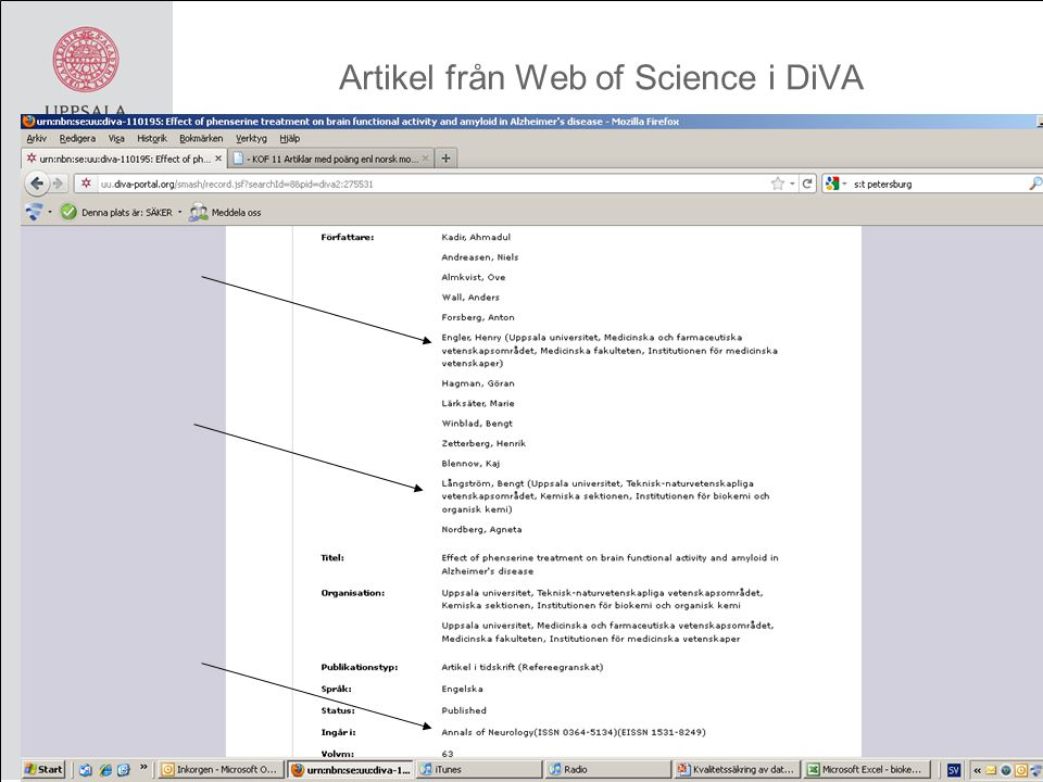 Artikel från Web of Science i DiVA