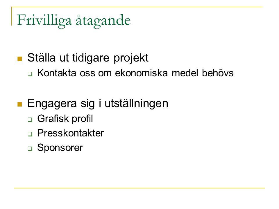 Frivilliga åtagande Ställa ut tidigare projekt  Kontakta oss om ekonomiska medel behövs Engagera sig i utställningen  Grafisk profil  Presskontakter  Sponsorer