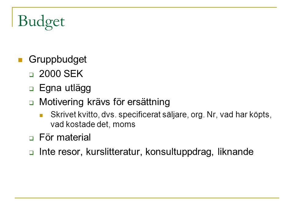 Budget Gruppbudget  2000 SEK  Egna utlägg  Motivering krävs för ersättning Skrivet kvitto, dvs. specificerat säljare, org. Nr, vad har köpts, vad k