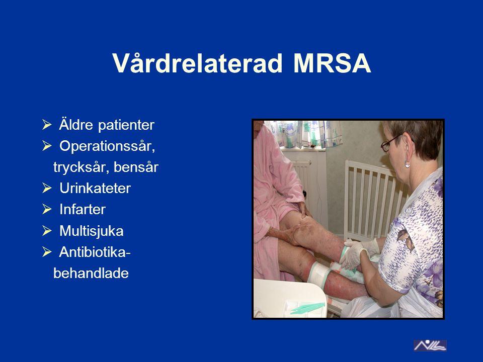 Vårdrelaterad MRSA  Äldre patienter  Operationssår, trycksår, bensår  Urinkateter  Infarter  Multisjuka  Antibiotika- behandlade