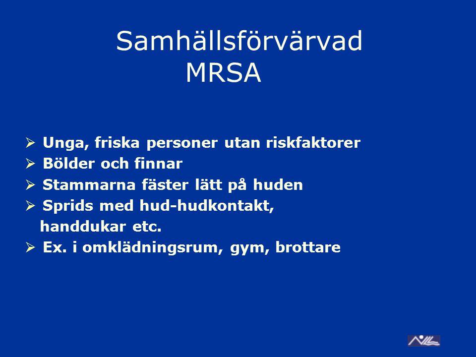 Samhällsförvärvad MRSA  Unga, friska personer utan riskfaktorer  Bölder och finnar  Stammarna fäster lätt på huden  Sprids med hud-hudkontakt, handdukar etc.