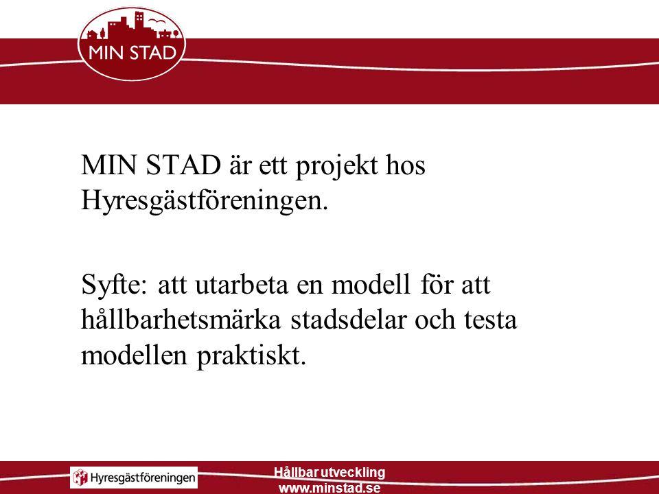 Hållbar utveckling www.minstad.se 1.Kartläggning av indikatorer 2.Områdesbeskrivning 3.Dialog med de boende 4.Handlingsplan 5.Lokalt förändringsarbete 6.Hållbarhetsmärkning av stadsdelen Arbetsgång