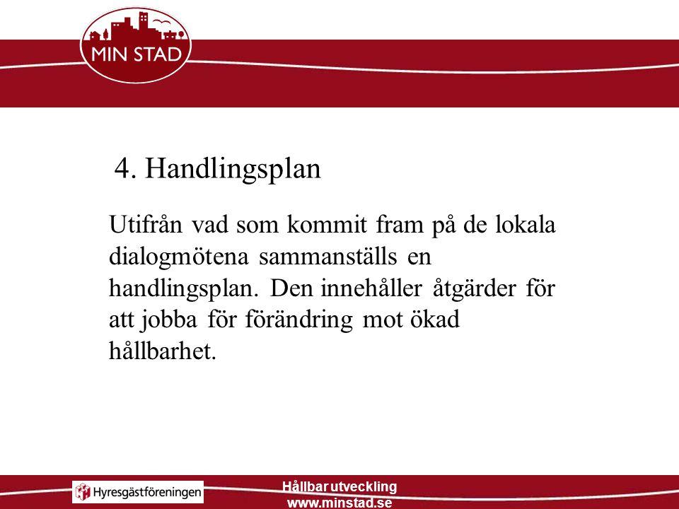 Hållbar utveckling www.minstad.se 4. Handlingsplan Utifrån vad som kommit fram på de lokala dialogmötena sammanställs en handlingsplan. Den innehåller