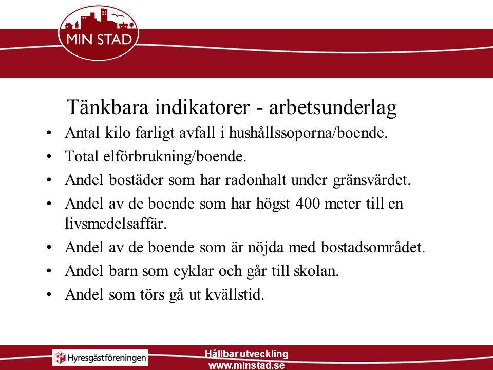 Hållbar utveckling www.minstad.se För att öka andelen som är nöjda med bostadsområdet kan man se till att boende deltar i både beslut och verkställande av åtgärder i utemiljön.