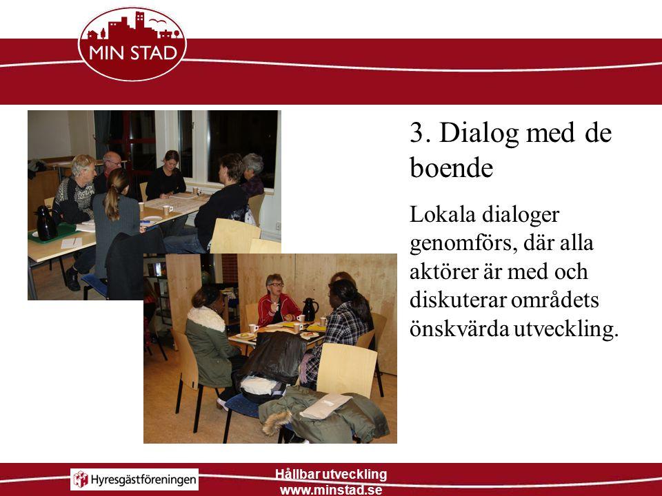 Hållbar utveckling www.minstad.se 3. Dialog med de boende Lokala dialoger genomförs, där alla aktörer är med och diskuterar områdets önskvärda utveckl