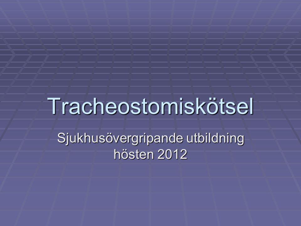 Tracheostomiskötsel Sjukhusövergripande utbildning hösten 2012