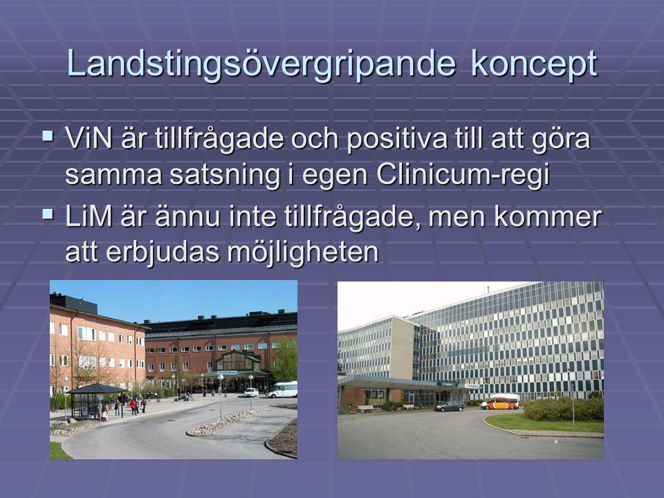 Landstingsövergripande koncept  ViN är tillfrågade och positiva till att göra samma satsning i egen Clinicum-regi  LiM är ännu inte tillfrågade, men kommer att erbjudas möjligheten