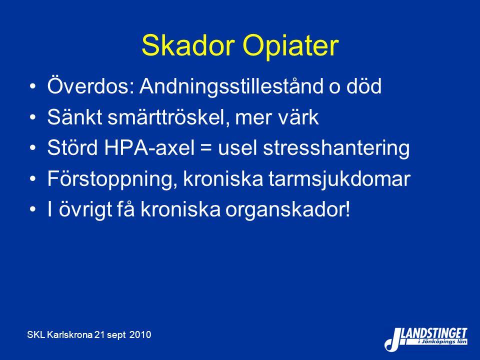 SKL Karlskrona 21 sept 2010 Skador Opiater Överdos: Andningsstillestånd o död Sänkt smärttröskel, mer värk Störd HPA-axel = usel stresshantering Först