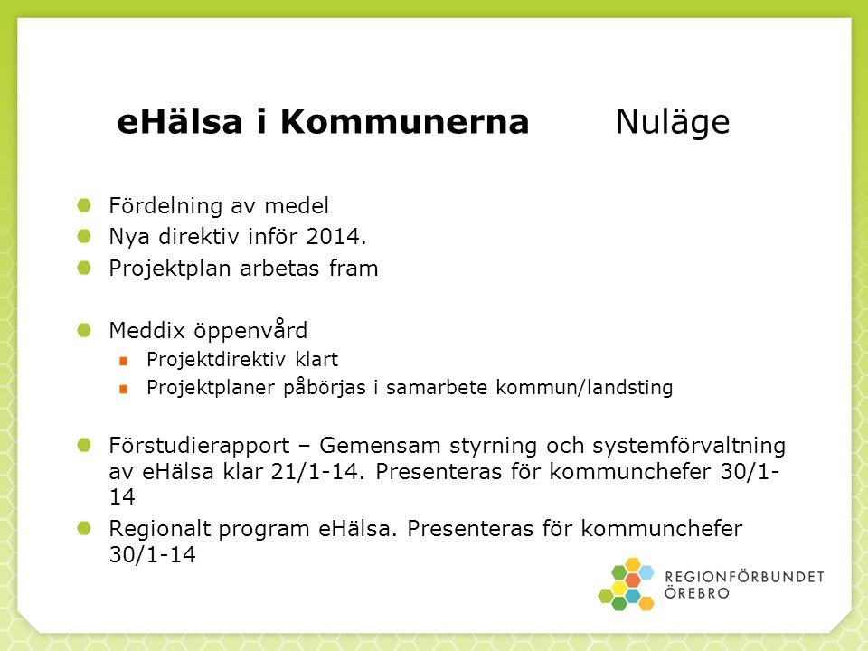 eHälsa i Kommunerna Nuläge Fördelning av medel Nya direktiv inför 2014. Projektplan arbetas fram Meddix öppenvård Projektdirektiv klart Projektplaner