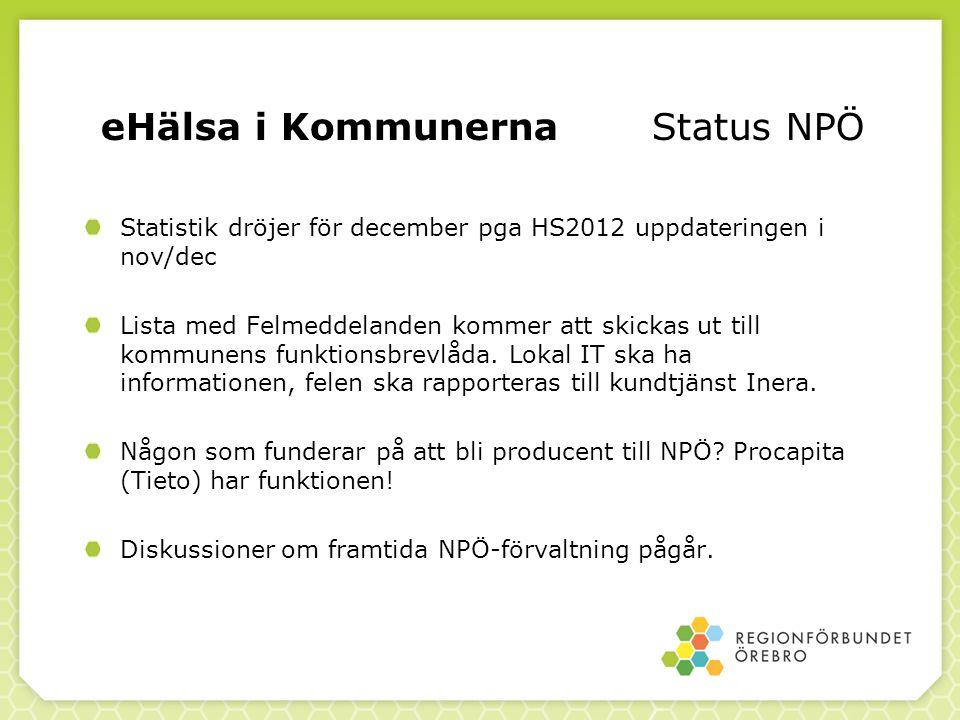 eHälsa i Kommunerna Status NPÖ Statistik dröjer för december pga HS2012 uppdateringen i nov/dec Lista med Felmeddelanden kommer att skickas ut till ko