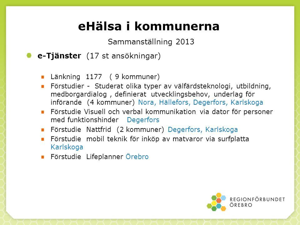 eHälsa i kommunerna Sammanställning 2013 e-Tjänster (17 st ansökningar) Länkning 1177 ( 9 kommuner) Förstudier - Studerat olika typer av välfärdstekno
