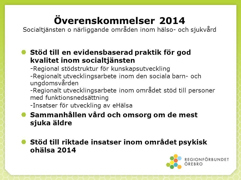 Överenskommelser 2014 Socialtjänsten o närliggande områden inom hälso- och sjukvård Stöd till en evidensbaserad praktik för god kvalitet inom socialtj