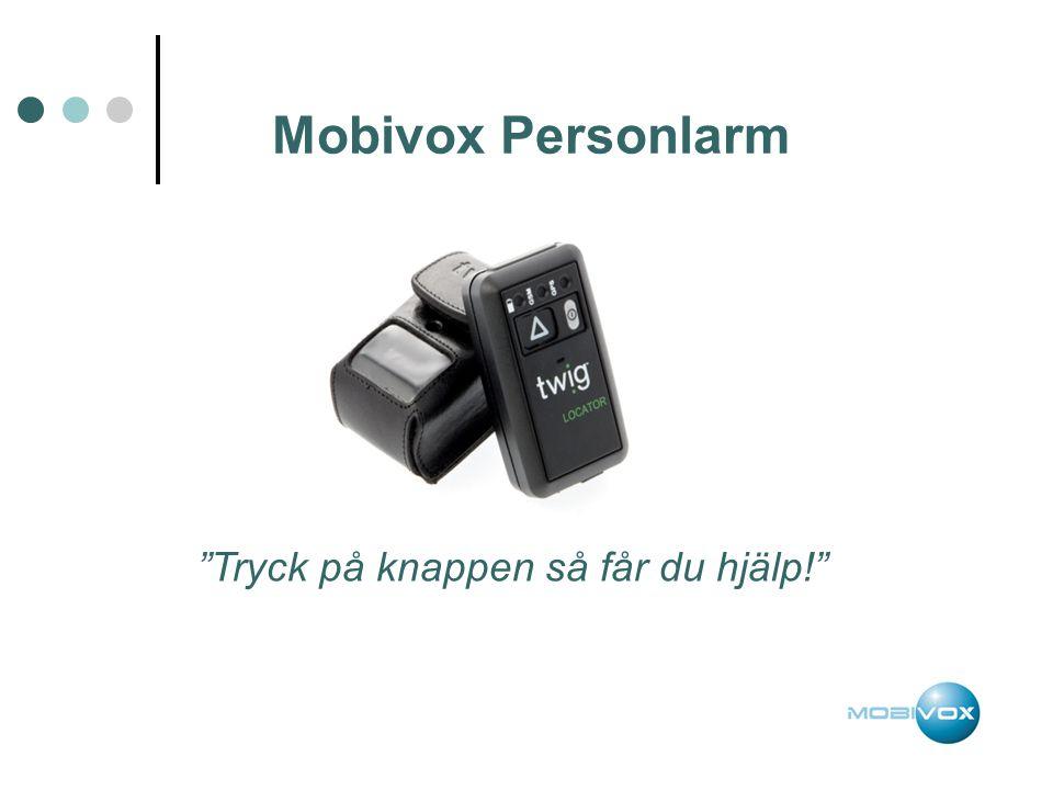 """Mobivox Personlarm """"Tryck på knappen så får du hjälp!"""""""