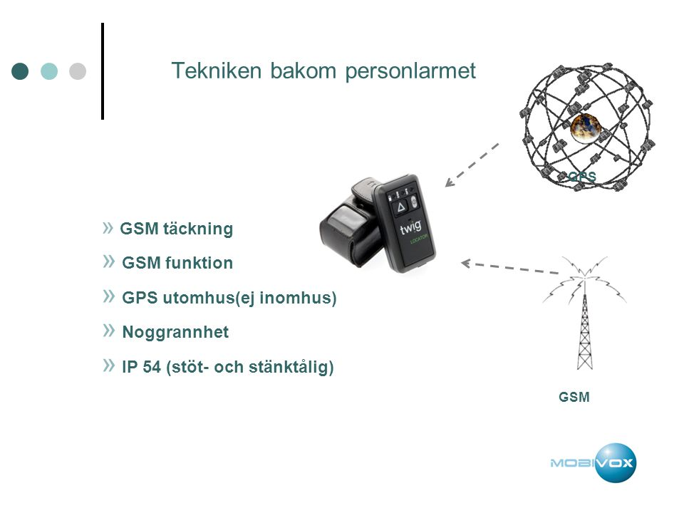 Tekniken bakom personlarmet GPS GSM » GSM täckning » GSM funktion » GPS utomhus(ej inomhus) » Noggrannhet » IP 54 (stöt- och stänktålig)